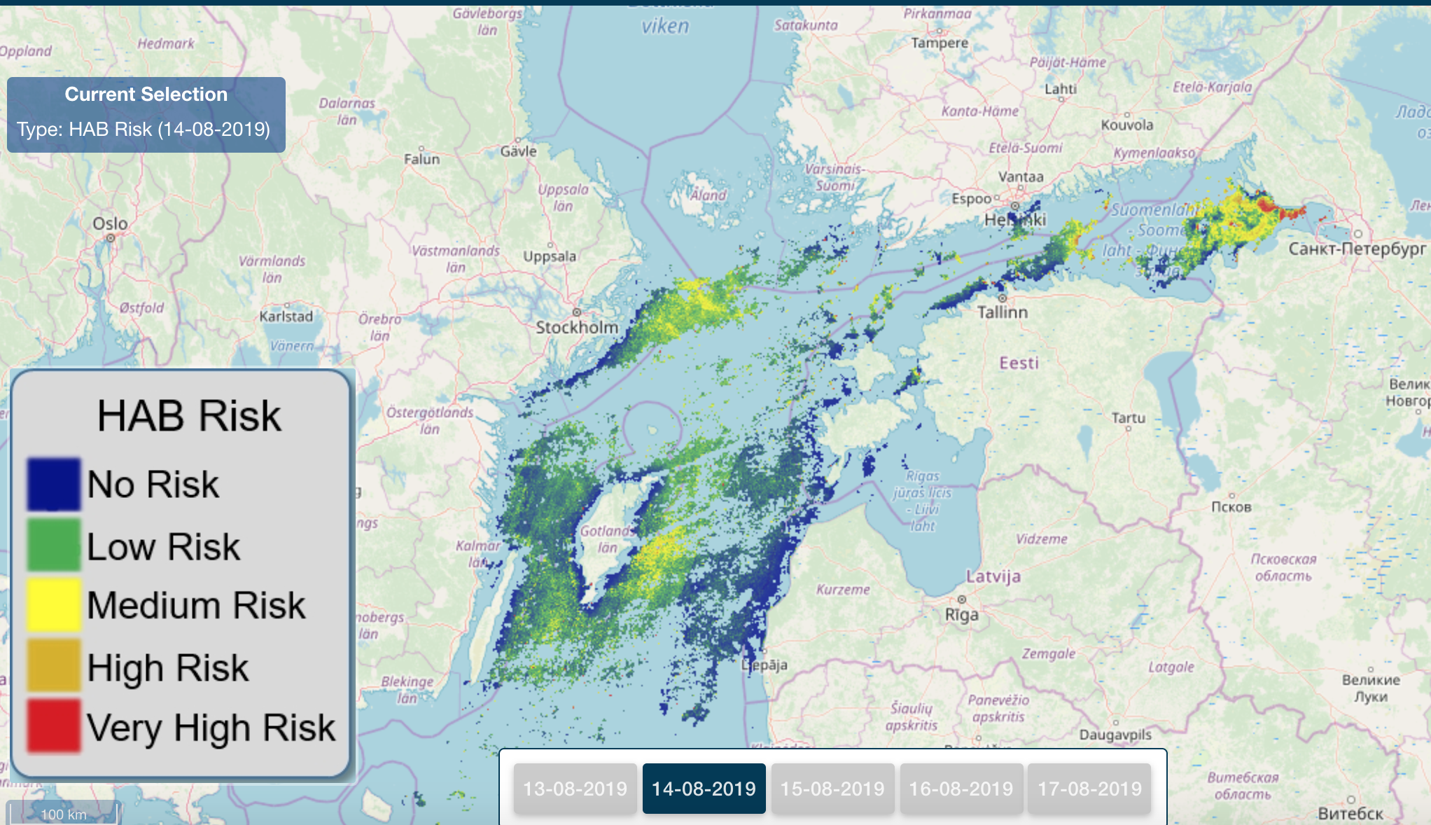HAB Risk web portal to monitor the chlorophyll-a concentration in Baltic Sea