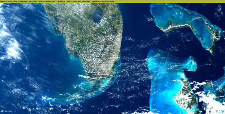 Sentinel-3 spots South Florida, USA, Bahamas