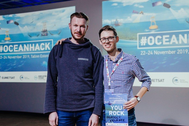 The moment of glory, Aleksei and I posing on a stage right after the final pitch.